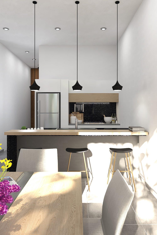 GLE Arquitectura - Casa Marín - Barra Cocina Frente
